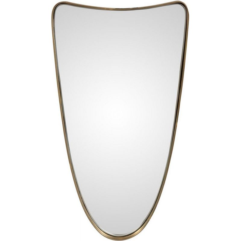 Vintage free-form mirror with brass outline