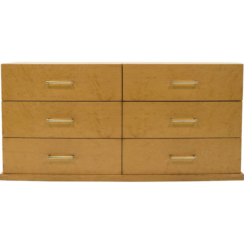 Large vintage art deco chest of drawers in sycamore with brass handles 1940s