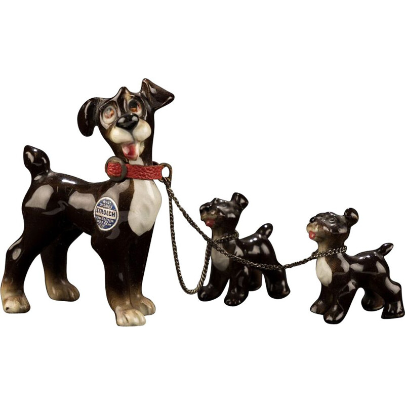 Vintage Tramp with two puppies by Goebel for Walt Disney 1950s