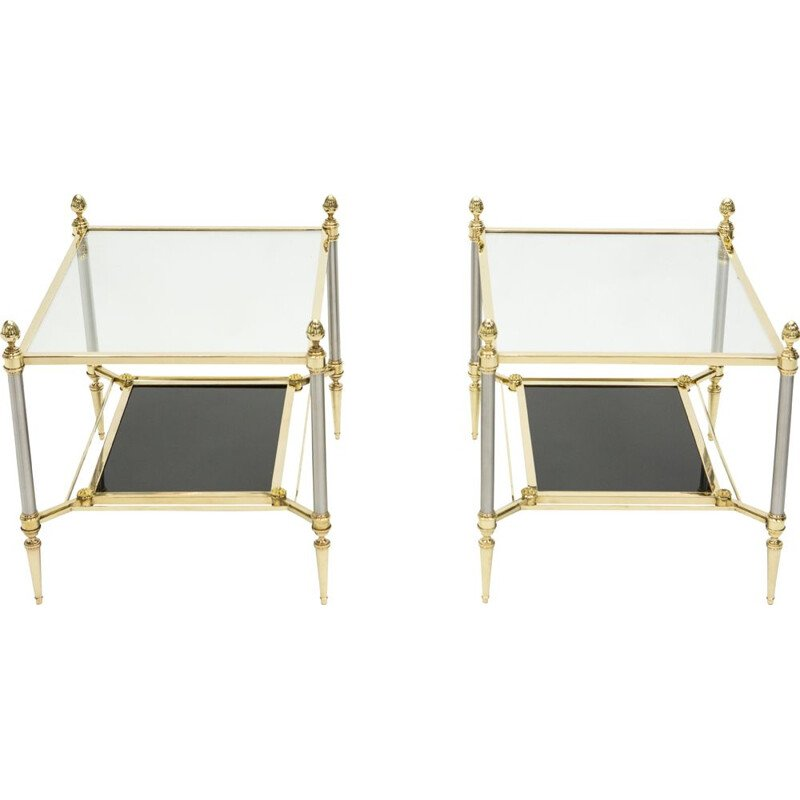 Pair of vintage neoclassical brass and black glass pieces of sofa from the House of Jansen 1970s