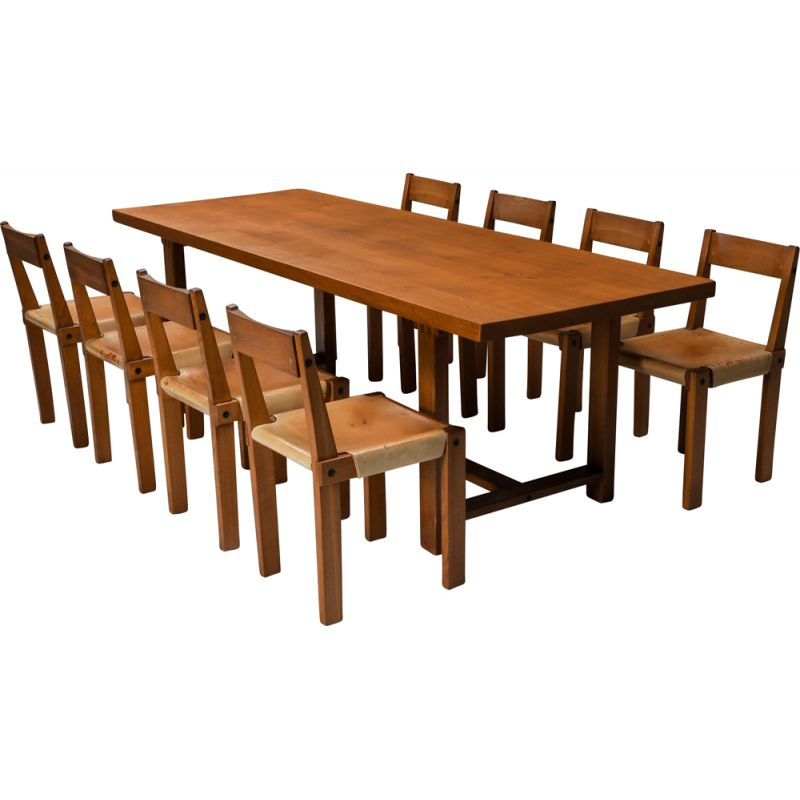 Vintage dining set with T01D table and S24 chairs in solid elm by Pierre Chapo, France 1960s