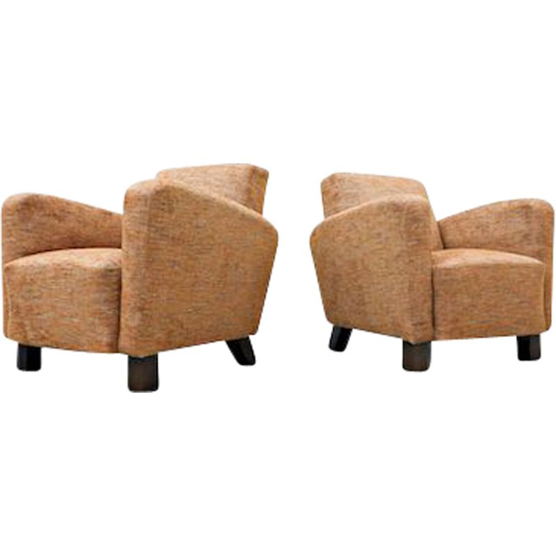 Pair of vintage Armchairs Model H-282 by Jindrich Halabala, Czechoslovakia 1940s