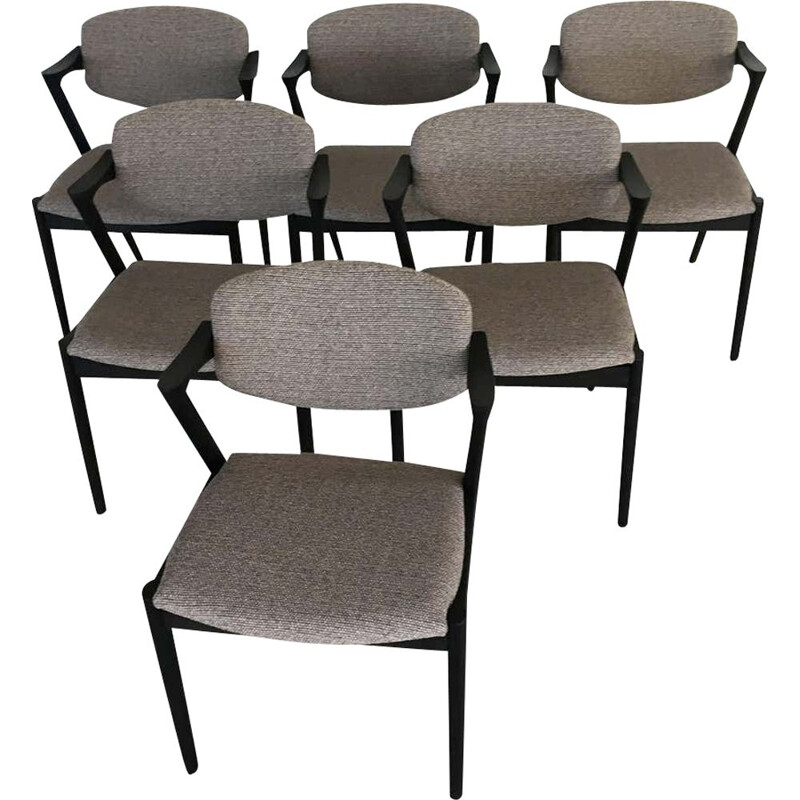 Set of 6 vintage Ebonized Dining Chairs by Kai Kristiansen