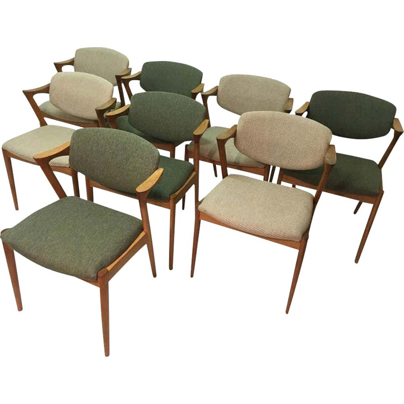 Set of 8 vintage Dining Chairs in Oak by Kai Kristiansen 1956s