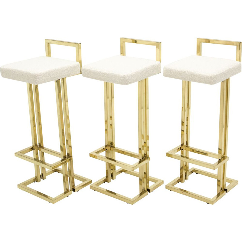 Set of 3 vintage brass bar stools in wool and curly wool from Maison Jansen 1970s