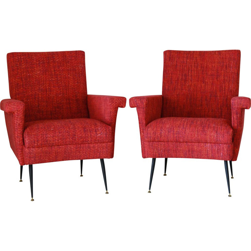 Pair of vintage red armchairs 1950s