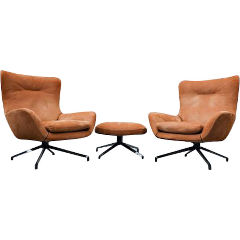 """Pair of vintage """"Jensen"""" Armchairs and Ottoman By Rodolfo Dordoni for Minotti"""