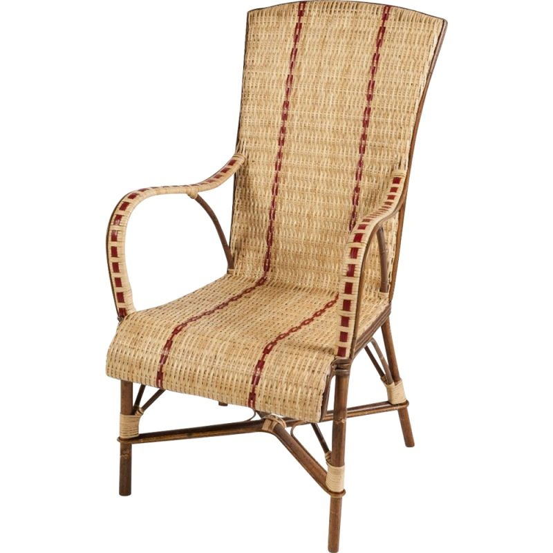 Vintage woven rattan armchair with red border 1950s