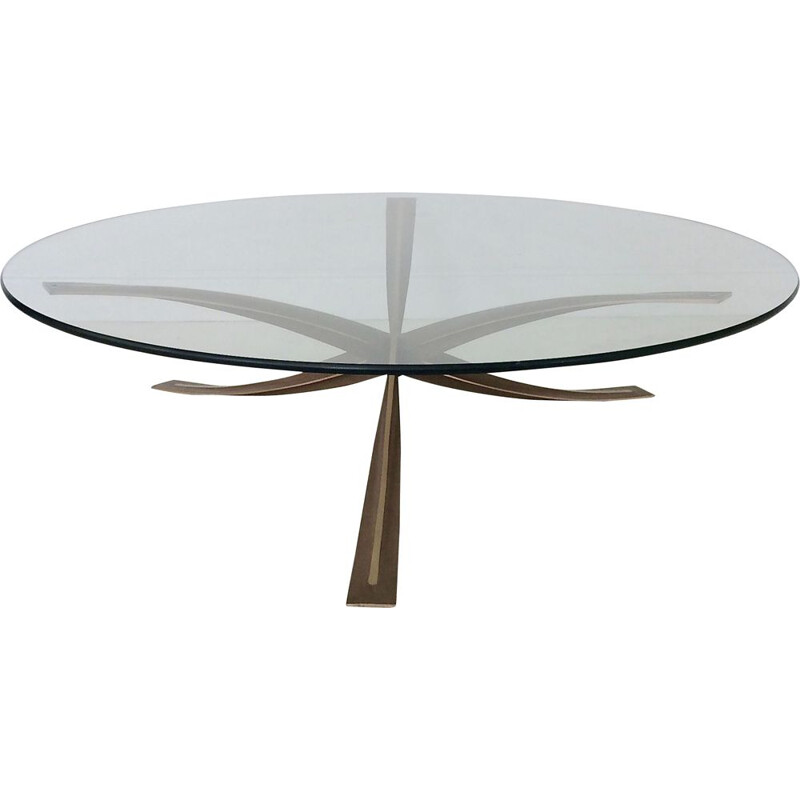 Vintage round bronze coffee table by Michel Mangematin, France 1960s