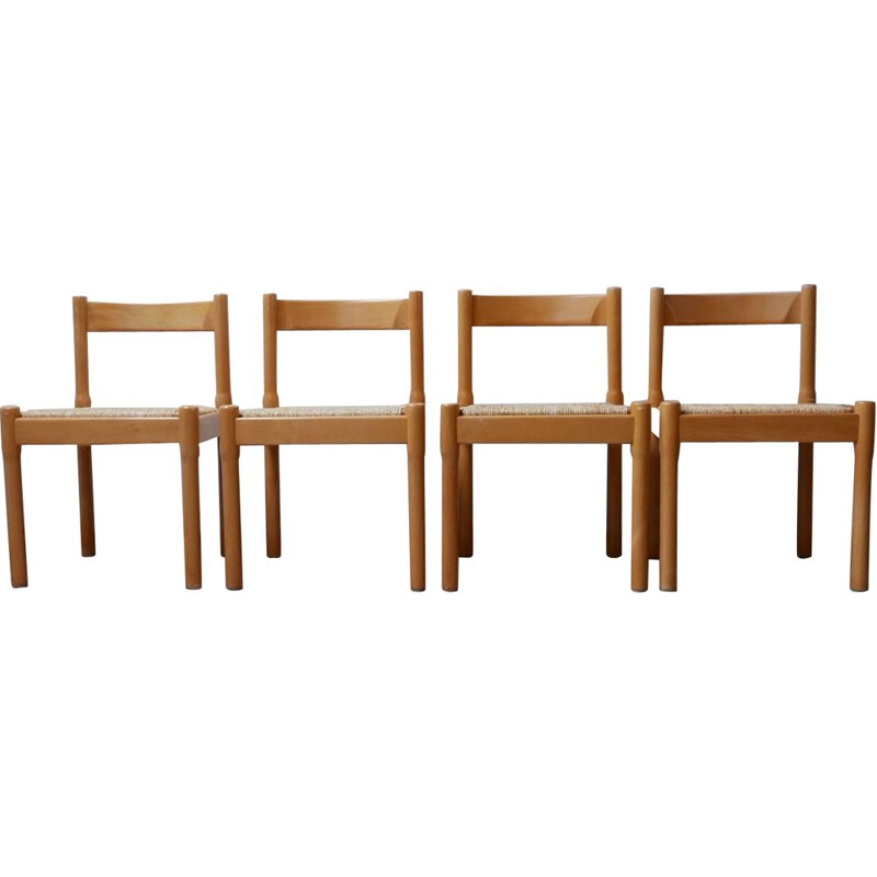 Set of 4 vintage Vico Magistretti Carimate Dining Chairs, Italian 1960s