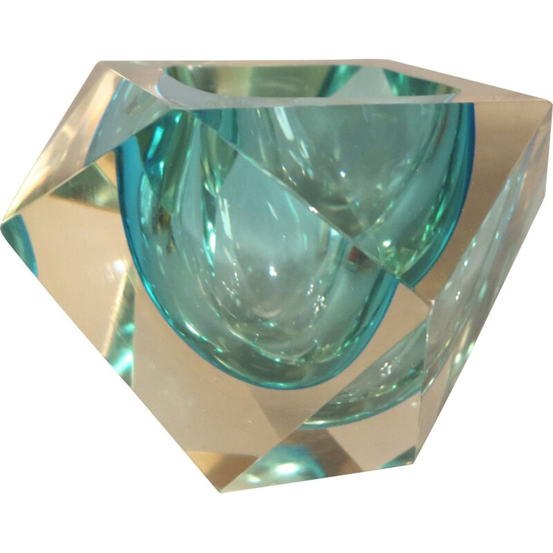 Large vintage Faceted Murano Glass Sommerso Bowl by Flavio Poli 1950s