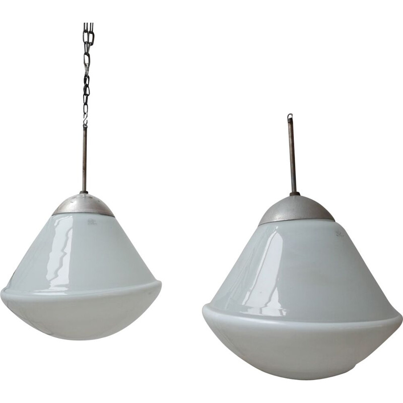 Pair of Large vintage Opaline Bauhaus Pendant Lights by Kandem, Germany 1930s