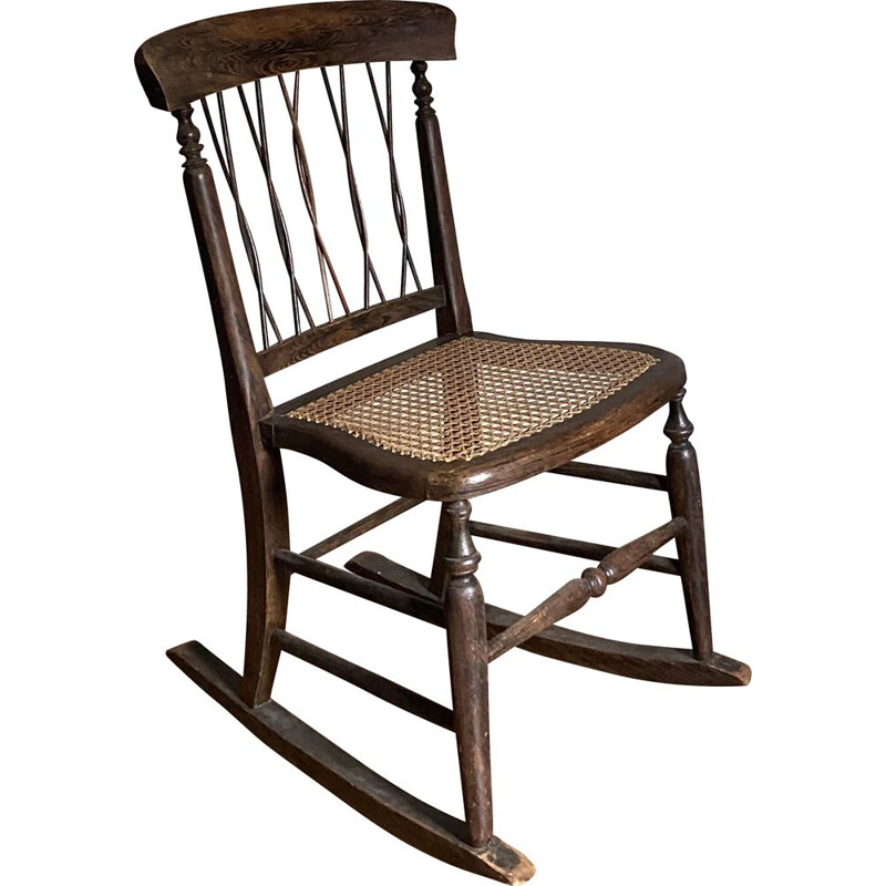 Vintage Rocking chair in natural wood