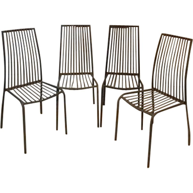 Set of 4 vintage metal chairs for bistro terrace