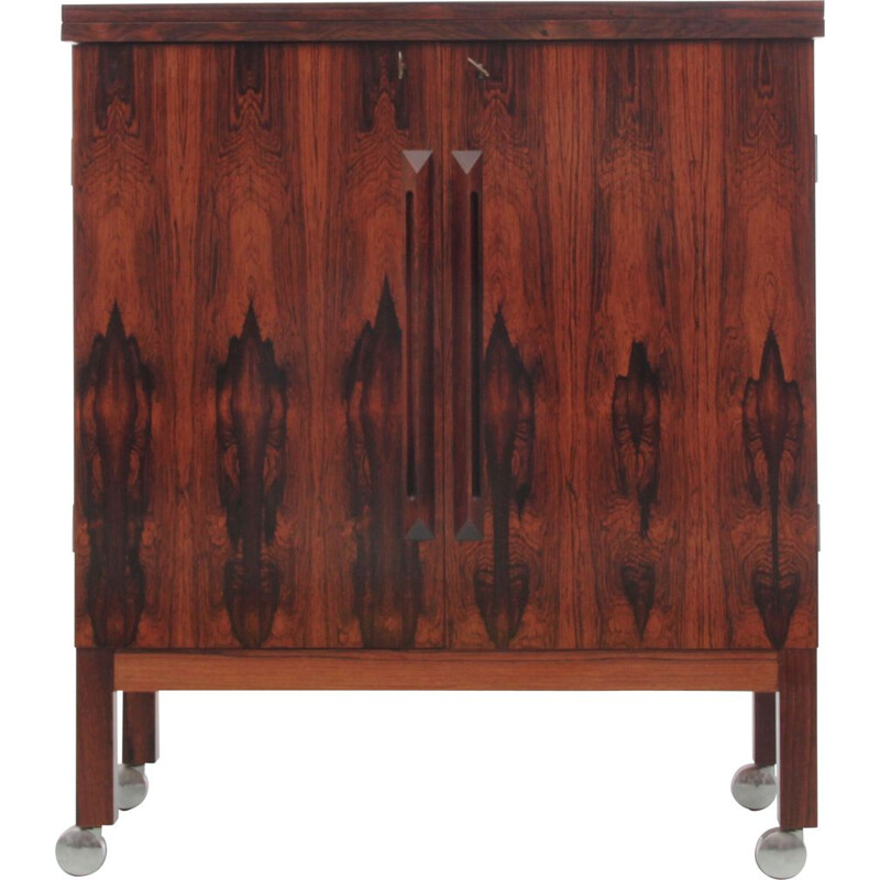 Vintage bar with casters in rosewood from Rio, Scandinavia