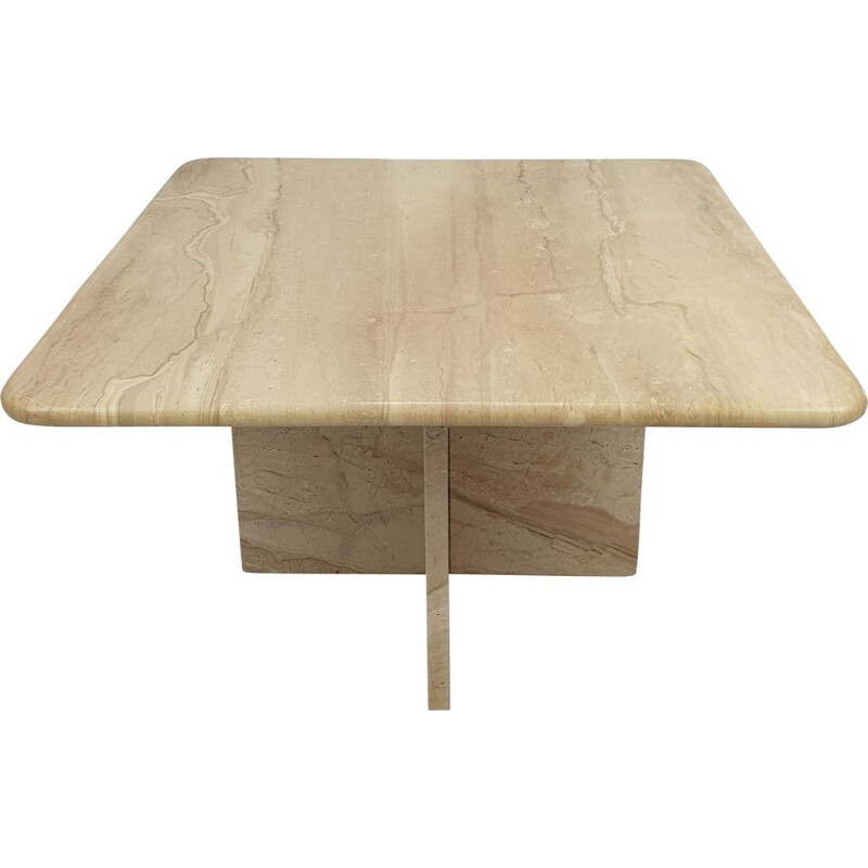 Mid-Century Travertine Coffee Table, Italian 1980s