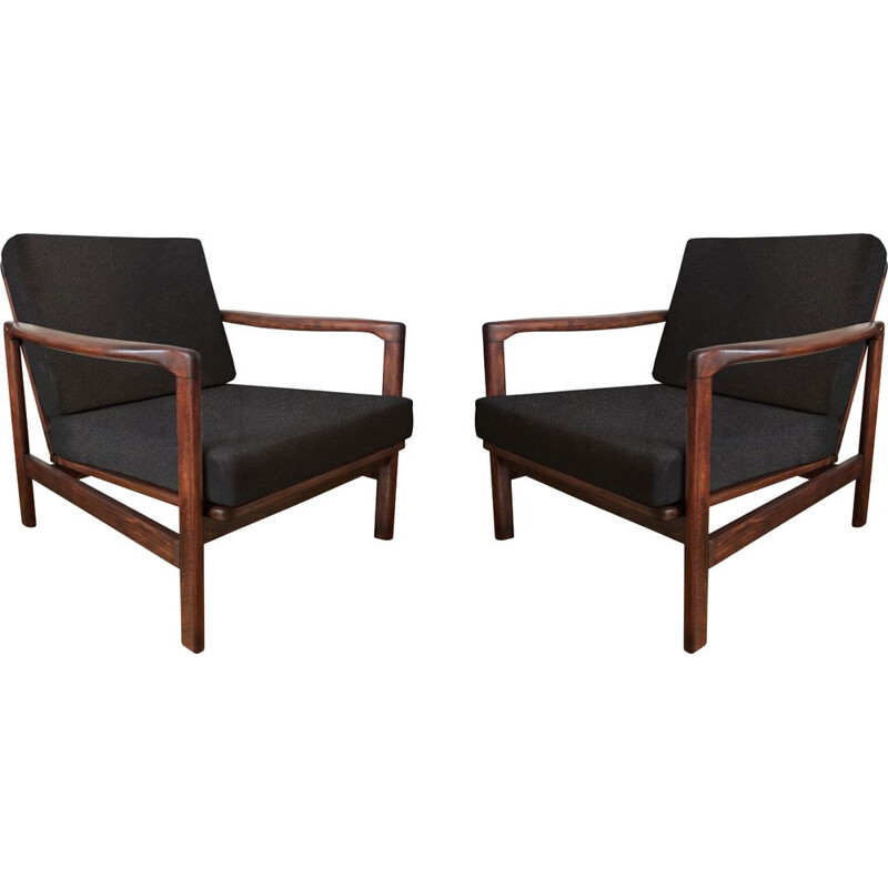 Pair of vintage Black B-7752 Armchairs by Zenon Bączyk for Swarzędzkie Fabryki Mebli 1960s