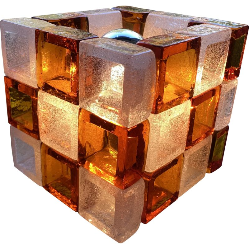 Vintage cubic lamp by Albano Poli for Poliarte, Italy 1960s