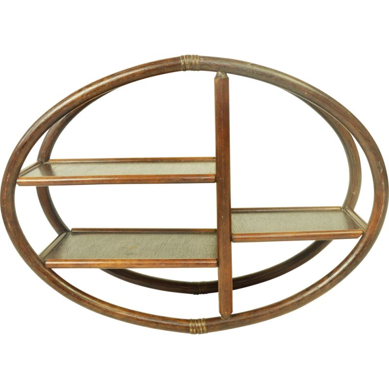 Pair of vintage bamboo shelves 1970s