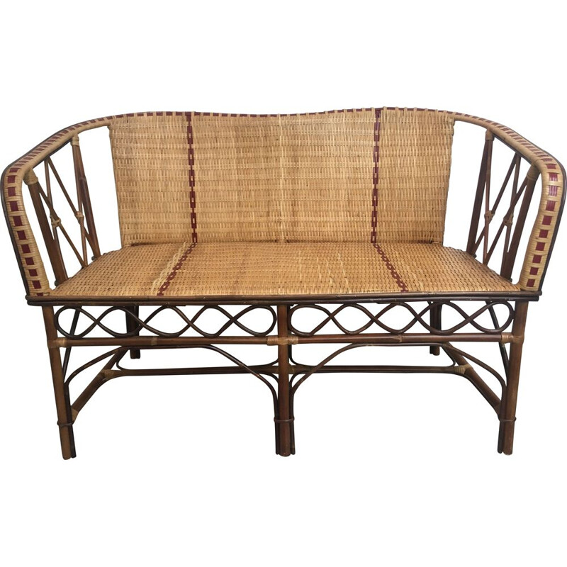 Vintage woven rattan sofa with red border