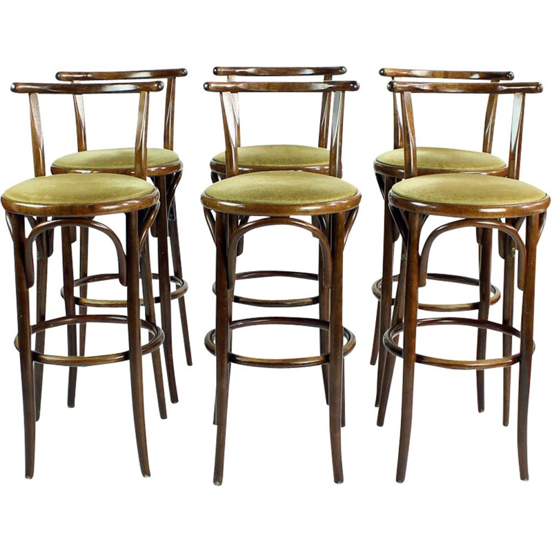 Set of 6 vintage Thonet Bentwood Bar Stools By Tatra, Czechoslovakia 1950s