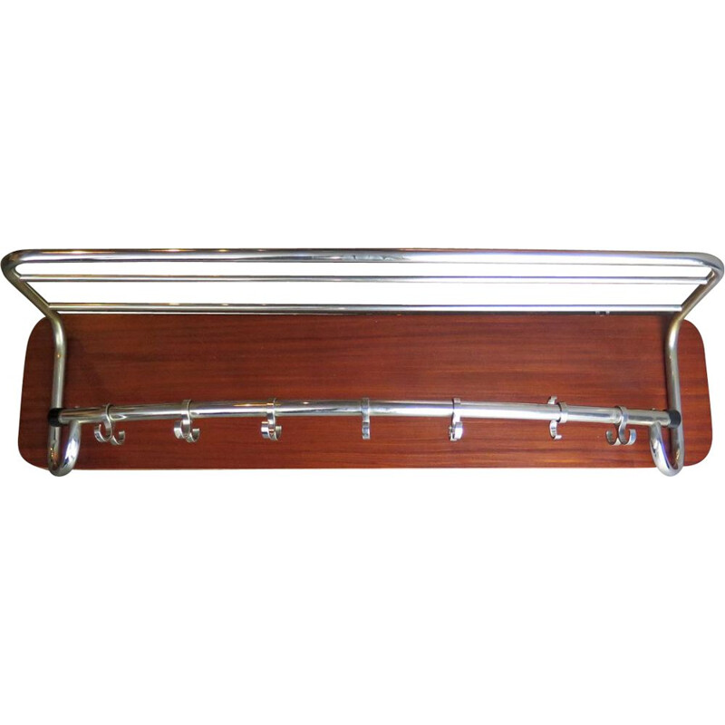 Vintage wooden coat rack in chrome-plated wood 1950