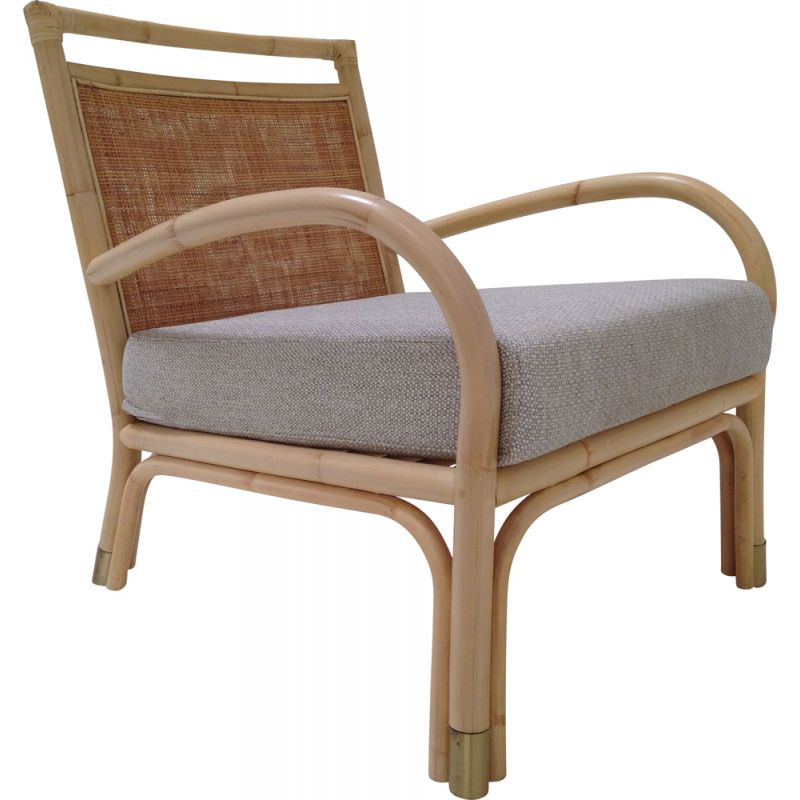 Vintage armchair in rattan, wicker and brass