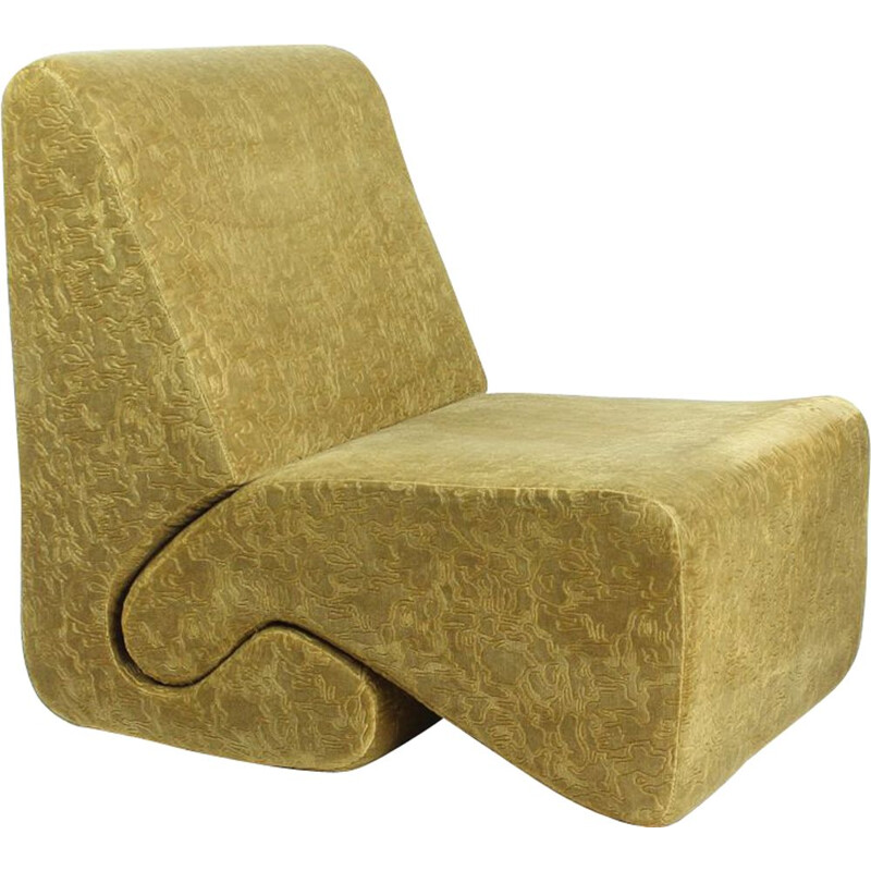 Vintage Gold Velvet Lounge Chair From Hotel Kyjev By Ivan Matusik, Czechoslovakia 1970s