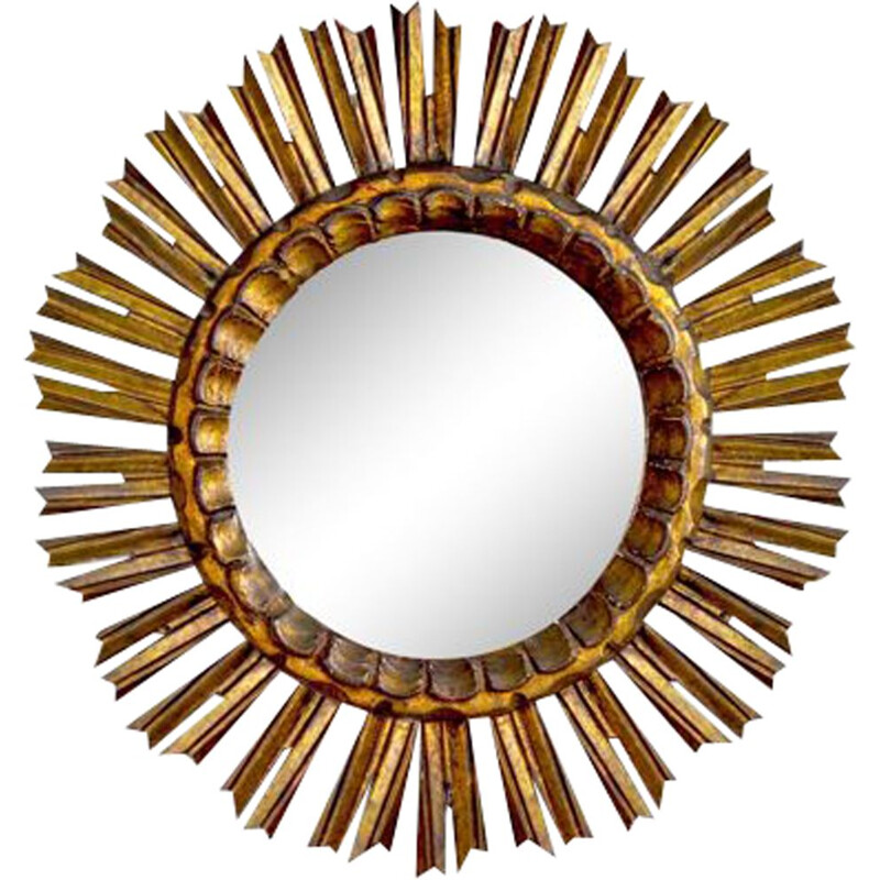 Vintage sunburst mirror in golden wood 1950