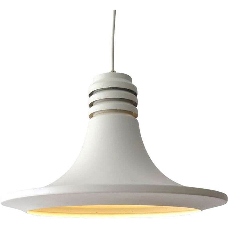 Vintage white pendant lamp, Danish 1970s