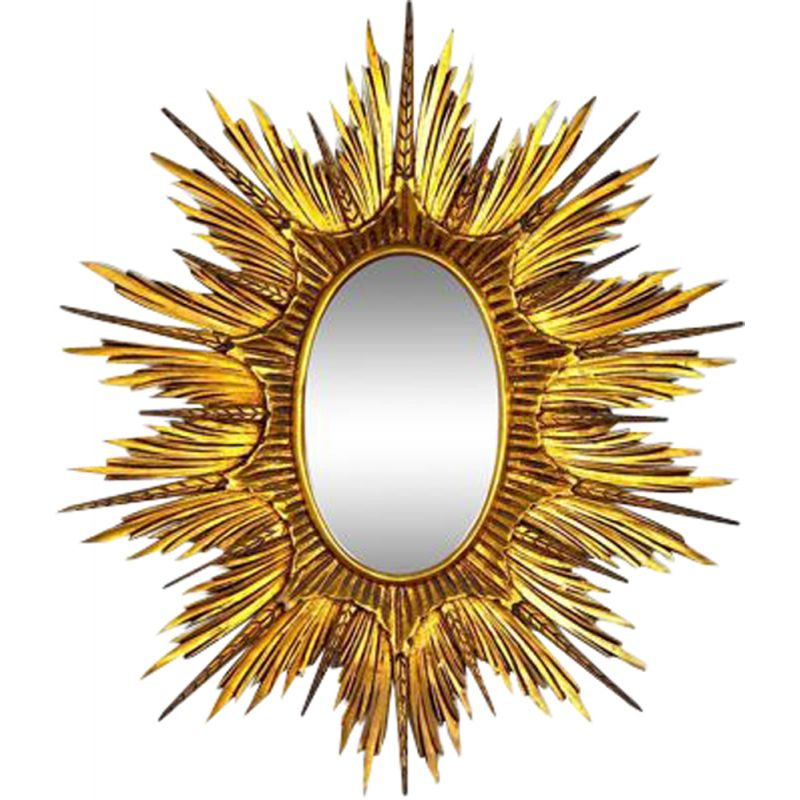 Vintage mirror sun and golden wooden ears of corn