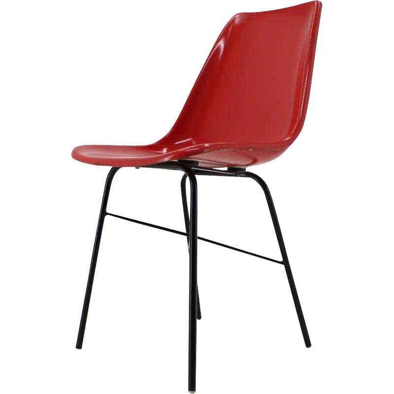 Vintage Red Fiberglass Dining Desk Chair by Vertex, Czechoslovakia 1960s