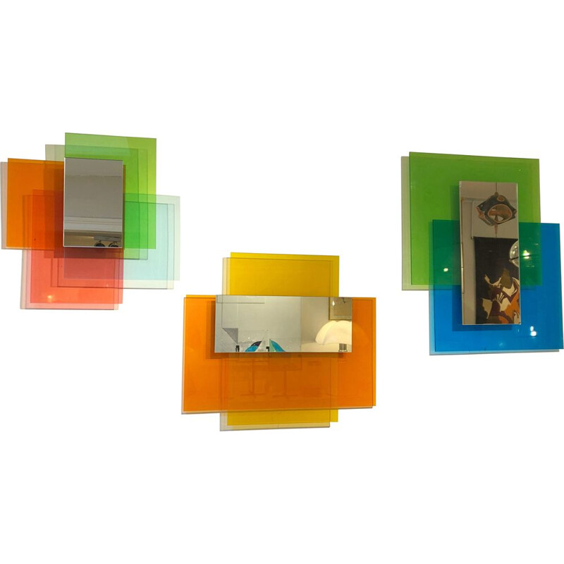 "Set of 3 vintage Wall Mirror ""Colour on colour"" by Johanna Grawunder for Glas, Italy 2010"