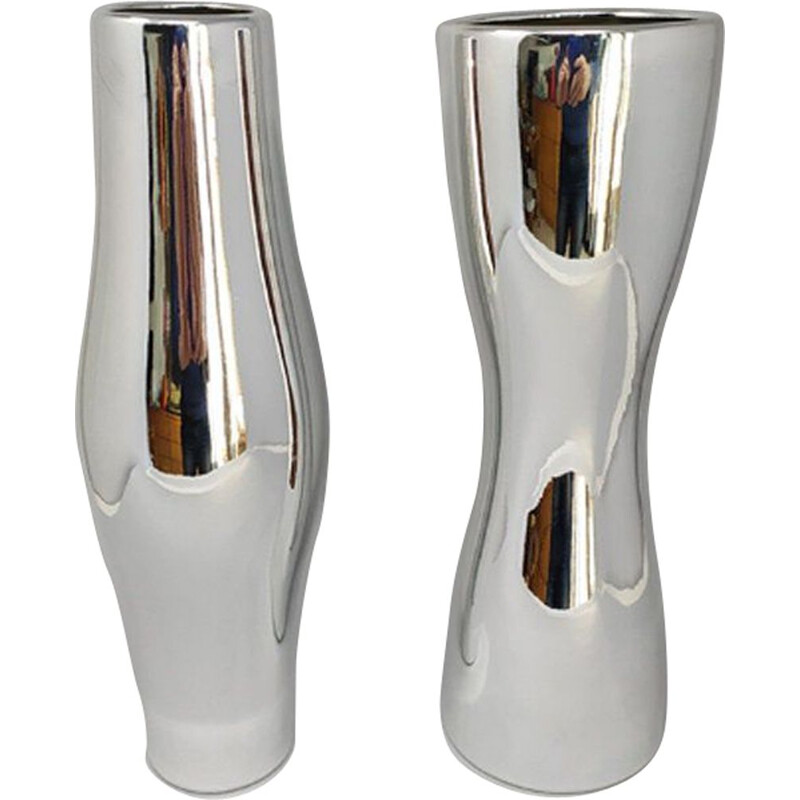 Pair of vintage Vases in Ceramic, Italy 1970s