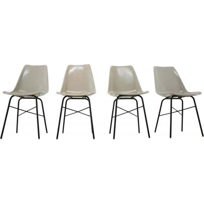 Set of 4 Midcentury Fiberglass Dining Chairs, Czechoslovakia 1960s