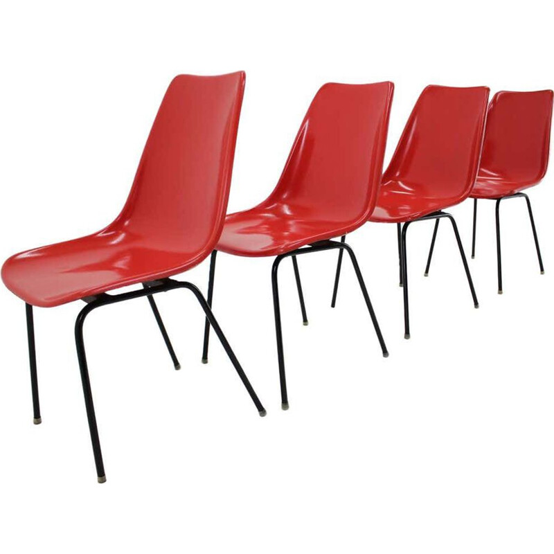 Set of 4 Midcentury Red Fiberglass Dining Chairs, Czechoslovakia 1960s