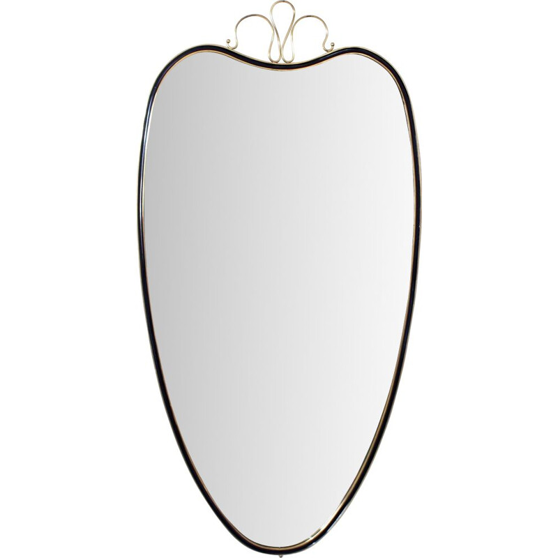 Vintage free engraved mirror with decoration, Italy 1950s