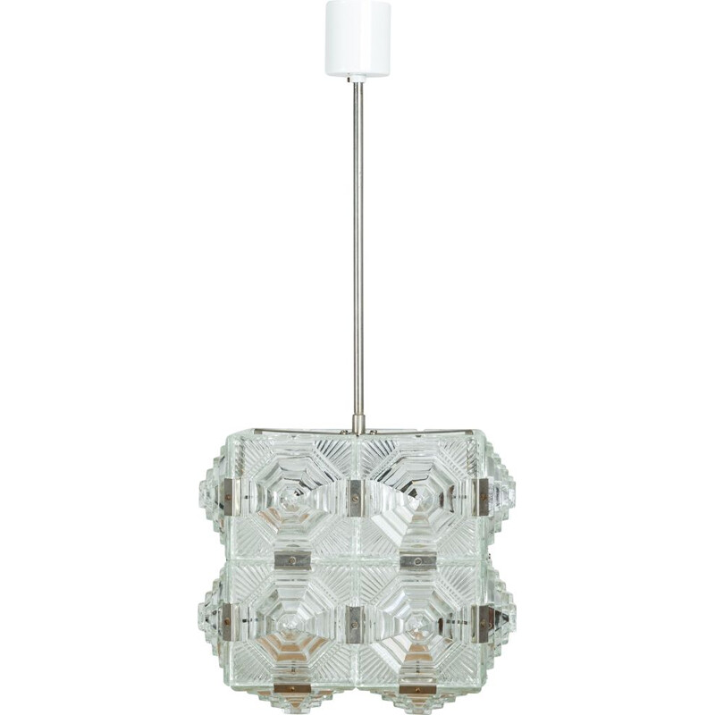 Vintage Cut glass cube pendant lamp from Kamenicky Senov 1950s