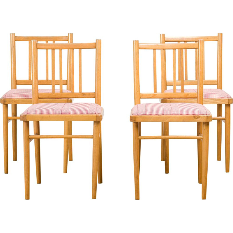 Set of 4 vintage dining chairs from Ton 1970s