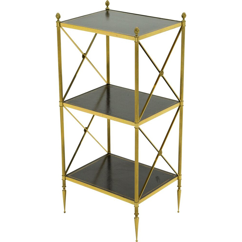 Vintage neoclassical side table black leather brass Maison Jansen 1970s