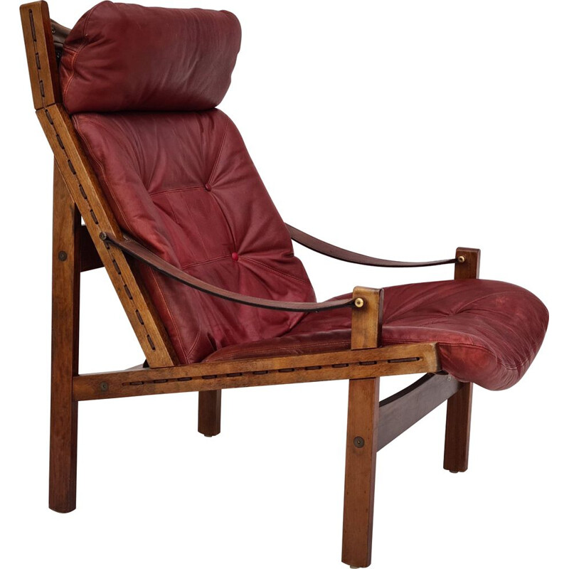 Vintage High teak back relax armchair original cherry-brown leather 1970s