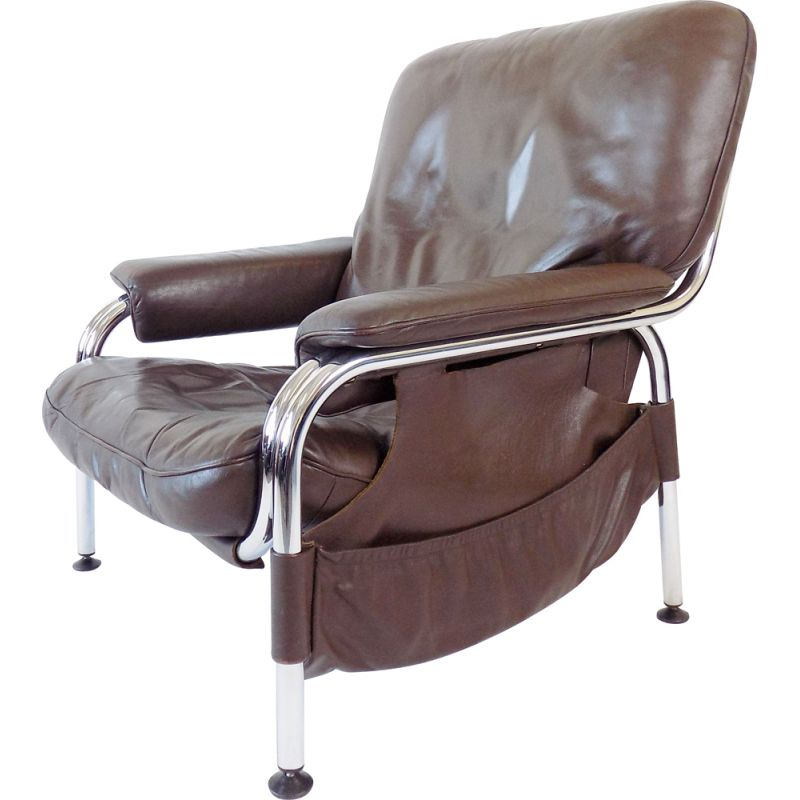 Vintage De Sede Kangaroo brown leather armchair by Hans Eichenberger 1970s
