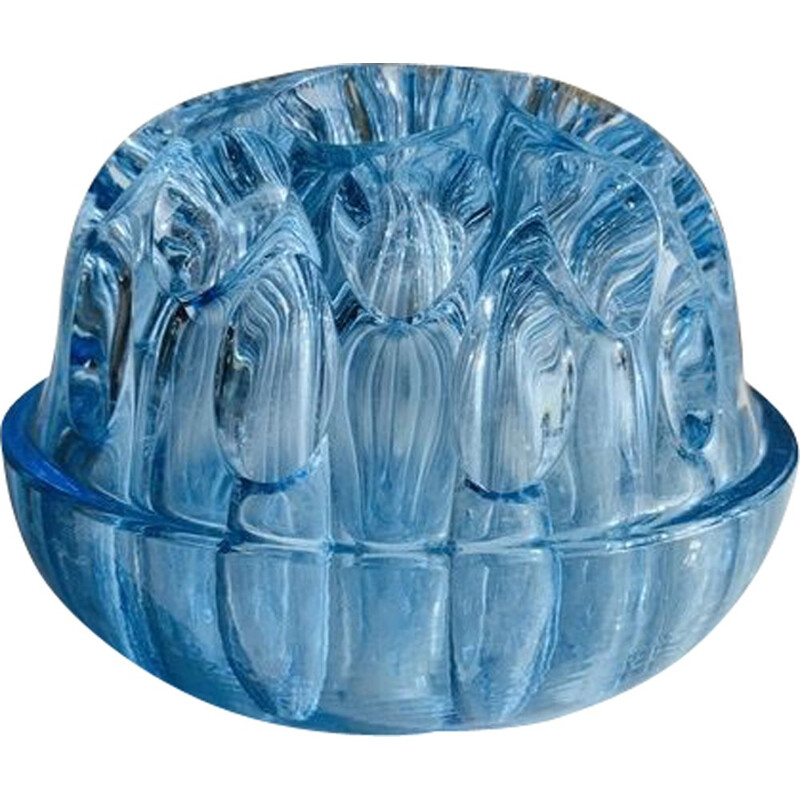 Vintage Pique Flower Vase in Blue Crystal, France 1960s