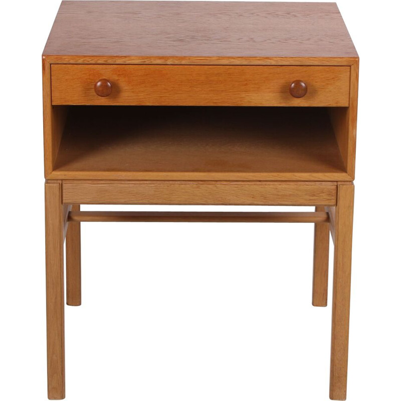 Vintage bedside table with drawer and wooden handles, Swedish