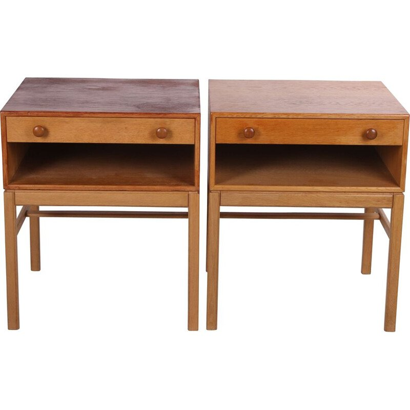 Vintage bedside table set with drawer and wooden handles Swedish