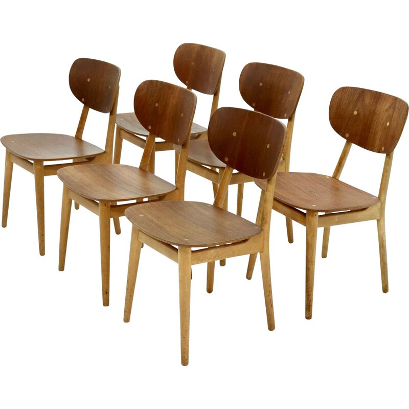 Set of 6 vintage Pastoe SB13 dining chairs by Cees Braakman 1950s
