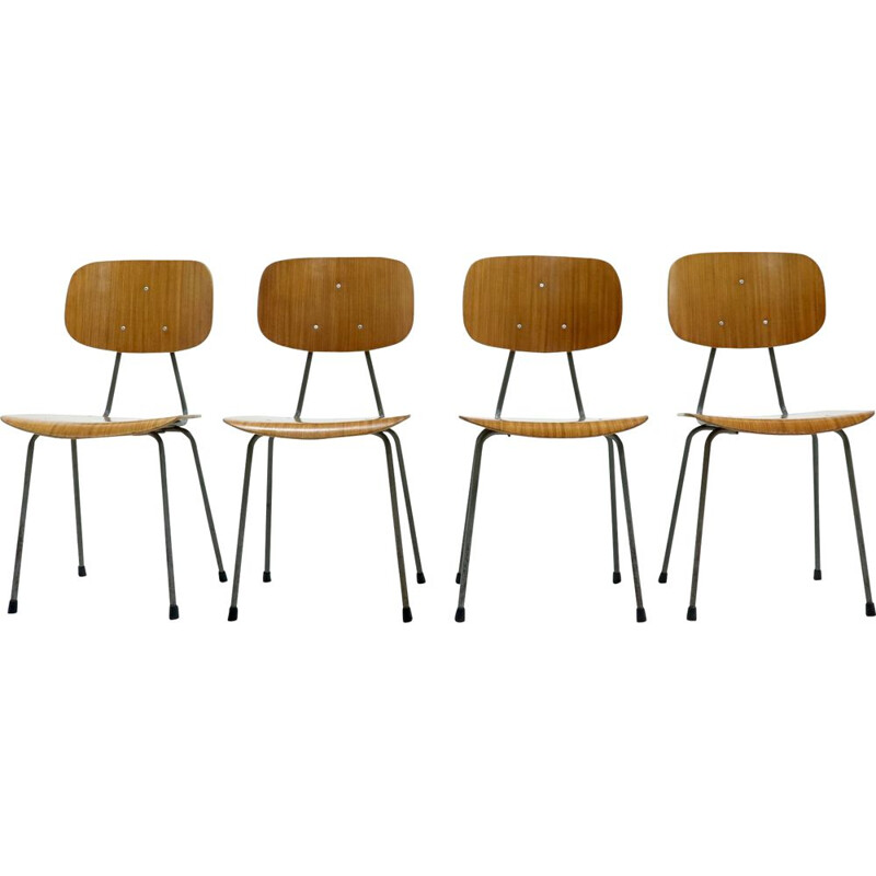 Set of 4 vintage Plywood Dining Chairs by Kembo Holland 1950s