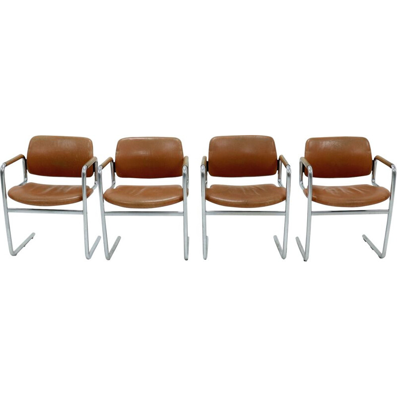 Set of 4 vintage Dining Chairs by Jorgen Kastholm for Kusch Co 1970s