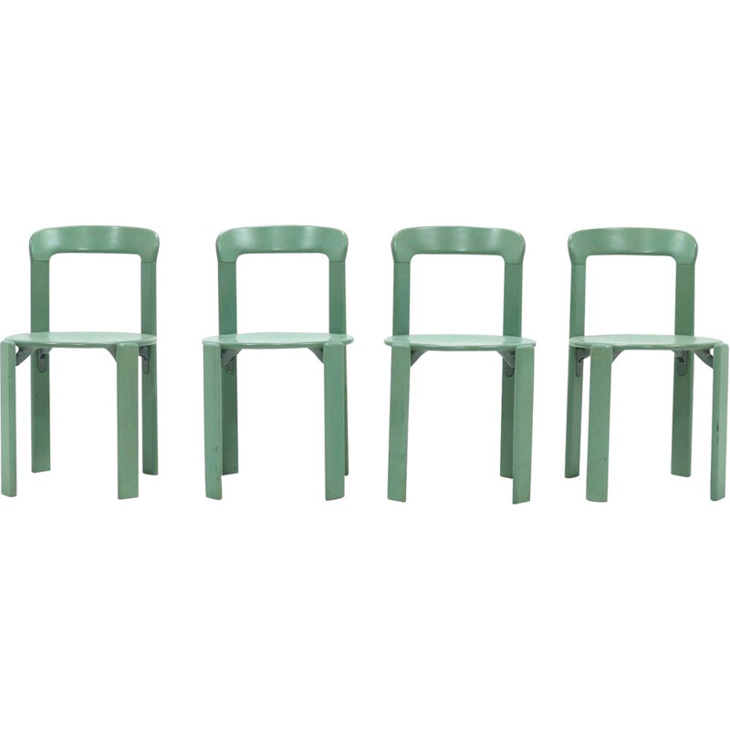 Set of 4 vintage Dining Chairs by Bruno Rey for Kusch Co 1970s
