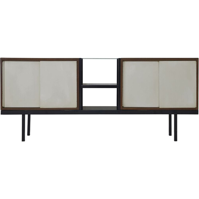 Vintage wood metal and glass sideboard model KW63 Bornholm, Dutch 1956s